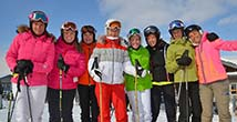 happy skiers group together