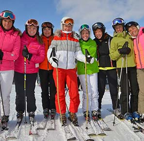 group of lady skiers